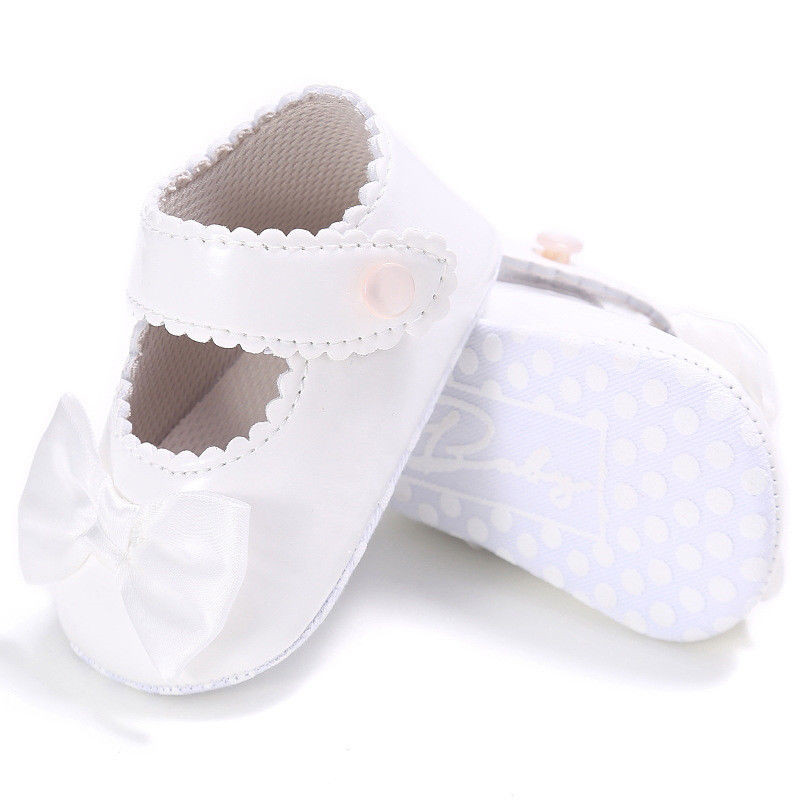 Baby Girl Bow Anti-slip Leather Christening Princess Shoes Soft Sole Sneaker US