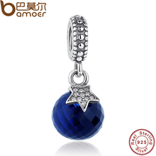 Real 925 Sterling Silver Moon & Star, Midnight Blue Crystal & Clear CZ Charm Pendant Fit Bracelet & Necklace PAS081(China)