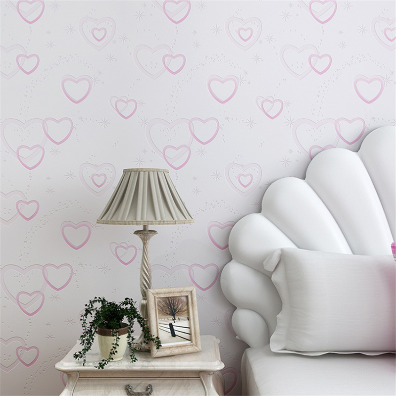 Beibehang papel de parede Pink light purple warm love heart 3D wallpaper bedroom living room childrens room cartoon wallpaper<br>