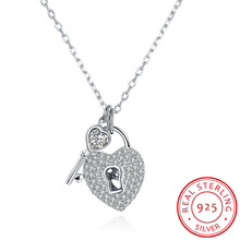 100% Pure 925 sterling silver jewelry cute full crystal stone lock heart key pendant necklace for women fine wedding jewelry(China)