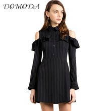 DOMODA 2017 Apparel Dark Blue Cold Shoulder Dress Women Clothing Sweet Ruffle Casual Female Vestido Slim Frill Preppy Mini Dress