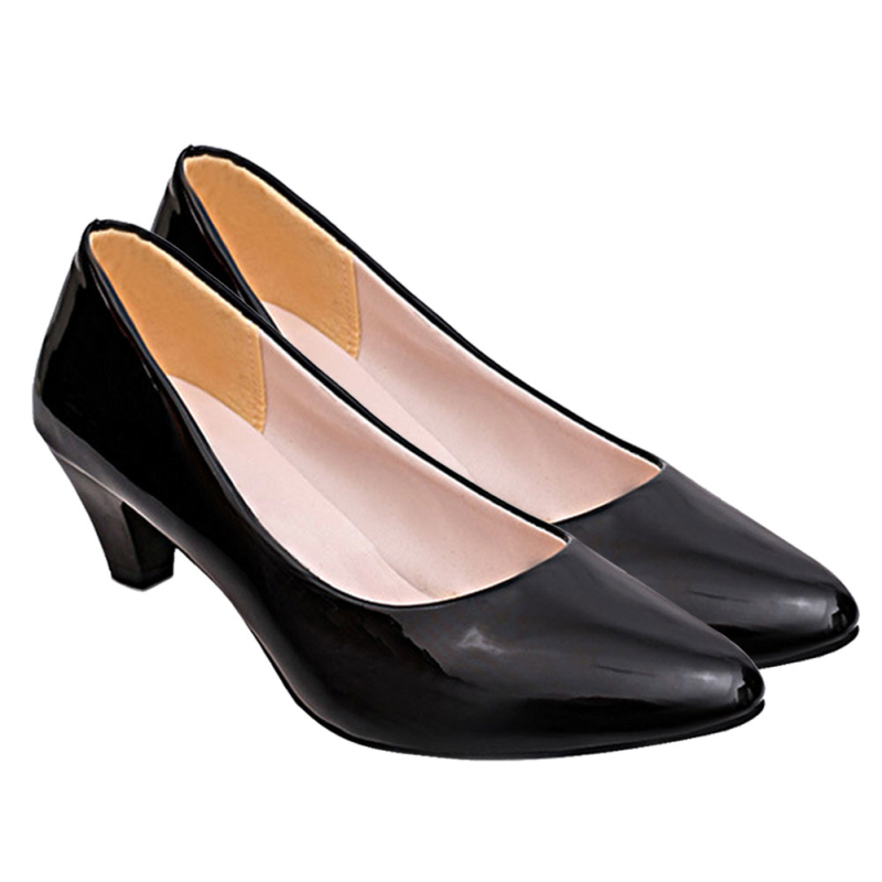 2017 Casual Dress Shoes Spring Autumn Fashion Nude Shallow Pointed Toe Slip On Heel Pumps Black Women High Heels WS189<br><br>Aliexpress