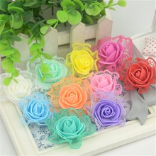 20pcs 3CM Artificial Mini PE Foam Lace Rose Flowers Head DIY Decorative Wedding Decoration Simulation Fake Flowers