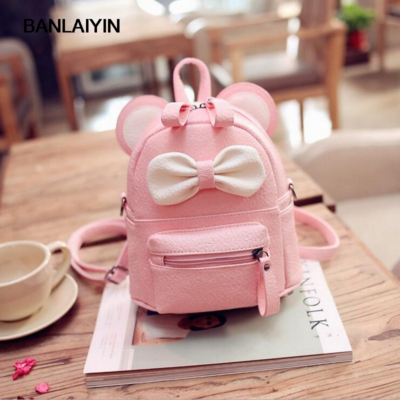 Cartoon Small Mouse Bowknot Leather Backpacks Women Messenger Shoulder Bags Children Small School Bags Mochila Escolar<br>
