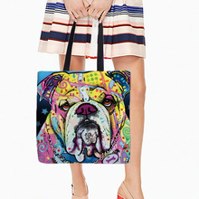 Colorful Style Tote Bag With Lovely Pet Dogs Printed Shapi Dog Art Handke Bag For Shopping Travel Double Sides Printed