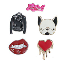 New Style 2017Hip Pop Brooch Pins Alloy Enamel Bag Hat Clothing Accessories Badges for Decoration Red Mouth Dog Red Heart