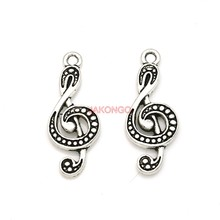20pcs Antique Silver Plated Music Note Charms Pendants for Necklace Jewelry Making DIY Handmade Craft 28x11mm