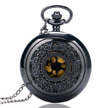 Vintage Jewelry Steampunk Antique Necklace Black Pocket Watch Classic Pattern Hollow-out Pocketwatch