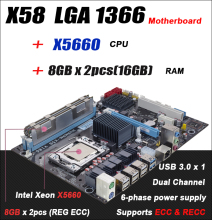 For Intel planform desktop motherboard new X58 board x5660 cpu 16GB 2x 8GB RAM DDR3 LGA 1366 REG ECC server memory 16G 8G(China)