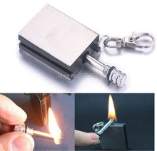 1Pcs Stainless Steel Matchbox lighters metal match the permanent fire flint lighters Keychain outdoor camp Hike