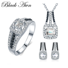 [BLACK AWN] 925 Sterling Silver Fine Jewelry Sets Trendy Engagement Sets Necklace+Earring+Ring for Women PTR023(China)