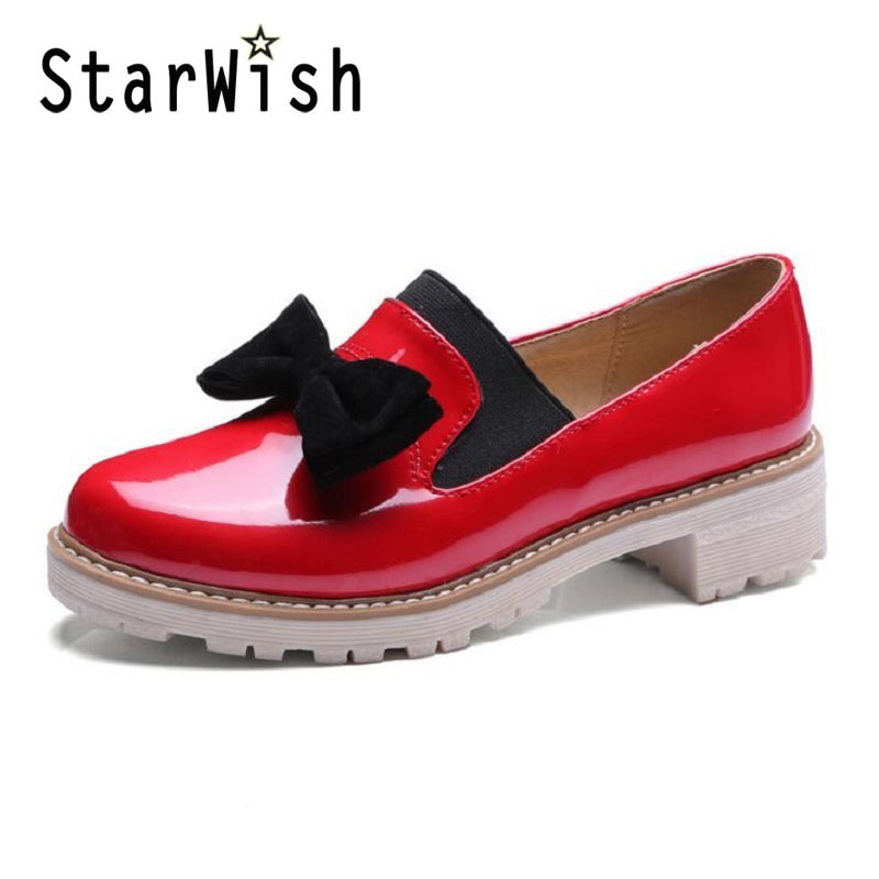 Spring Summer Oxfords Casual Bowtie Loafers Platform Shoes Woman Slip On Creepers Patent PU Leather Women Flats Shoes Size 34-43<br><br>Aliexpress