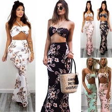 Buy Sexy Halter Two Piece Set Floral Printed Bandage Women Summer Dresses High Waist Strap Backless Beach Boho Dresses 2018 Vestidos