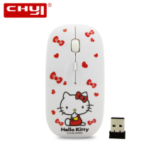 Wireless Mouse Hello Kitty 2.4GhZ USB Optical Computer Mice Gaming Mause Cute Ultra-thin Mouse sem fio For PC Lovely Girl Gifts(China)