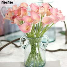 NieNie 10pcs/lot Artificial Flower Real Touch PU Calla Lily Bouquets DIY Home Wedding Decoration Bridal Decor Decorative Flowers