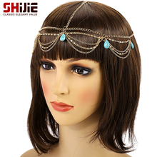 SHIJIE Boho Gold color Tassel Head Chain Love Wedding Bride Hair Accessories for Women Turquoises Hairbands Fashion Jewelry Gift