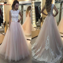 Buy A-line Tulle Lace Floor Length Wedding Dresses Elegant Formal Bride Dress Wedding Gowns 2018 New Design Custom Made EB10 for $186.00 in AliExpress store