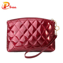 Hot Selling New 2016 fashion lady's makeup bag women's patent leather cosmetic bag plaid purse day clutch Free shipping