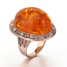 STOCK 2017 high quality new fashion elegant big natural orange stone ring for women free samples OSR012