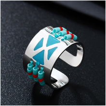 Shineland New Design Silver Color Black Red Blue Enamel Resin Beads Rings Openings Adjustable Unique Midi Rings For Women Men