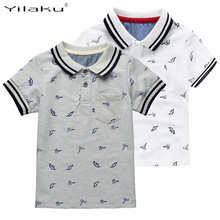 New Summer Dinosaur Boys T-shirts Cotton Kids Tops Sports Tee Turn-down Collar Boys Polo Shirts 2-7Y Children's Clothing CG059