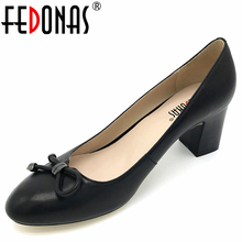 Buy FEDONAS Women's Fashion Thick High Heels Pumps Comfortable Genuine Leather Spring Summer Autumn Shoes Women Ladies Office Pumps for $42.60 in AliExpress store