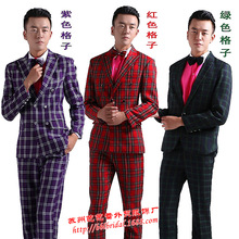 The host shows men dress Suit studio theme photo men's wear two sets can be customized