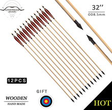 LongbowMaker12pcs Archery wooden Arrows handmade turkey feather Recurve Long Bow site shooting 20-80lbs Black Red Feathers