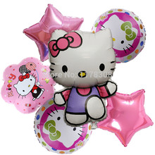 Hello kitty foil air Balloons Kids Classic Toys Birthday Party Decorations 6pcs/set Cartoon balloons holiday Supplies(China)