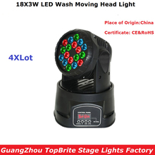 Free Shipping Newest 18X3W RGB LED Mini Moving Head Light High Quality 70W Moving Head Wash Lights For Disco Party Nightclubs(China)