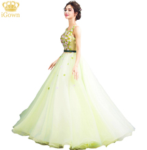 iGown Brand New Light Green Lace Flower Evening Dress The Princess Fairy Fresh Sweet Beading Sleeveless Long Prom Party Gown