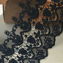 New 1023179 1 Yards White Black 20cm Flower Wave Embroidery Lace Embroidered Water Soluble Cotton Cloth Lace Trim Ribbon
