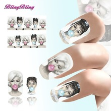2PCS Audrey Hepburn Design Nail Art Tips Sexy Beauty Water Transfer Nail Sticker Nails Decal Manicure Nail Wraps Decorations 13