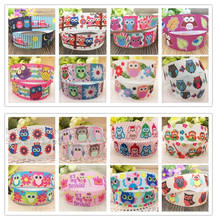 Free shipping 10 yards 7/8'' (22mm) width owls printed Grosgrain ribbon Animal cartoon Ribbon Clothing Baker accessory gift pack(China)