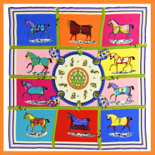 100% Silk Scarf Women Scarf Horse Scarf 2016 Foulard NeckerChief Animal Silk Bandana Small Square Silk Scarf Office Lady Gift