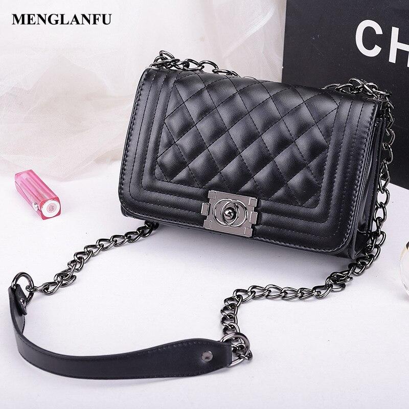 Chain Shoulder bag for women Small leather crossbody bag female casual plaid message bags Girls designer Vintage Shoulder bag<br>