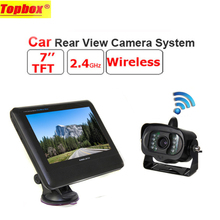 "2.4G Wireless TFT 7"" LCD Monitor Car Rear View system With a Weatherproof 15LEDs IR Night Vision Parking Reversing Camera"