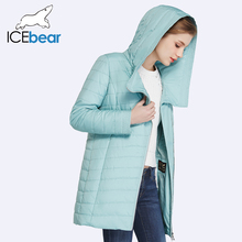ICEbear 2017 New Spring Collection Autumn Oblique Placket Design Jacket Long Women's Coats With Hood 17G295D(China)