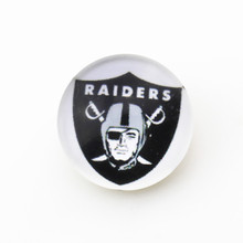 Glass oakland Raiders NFL team Snap Buttons Fit 18mm Bracelets&Bangles Sports Ginger Snap Jewelry