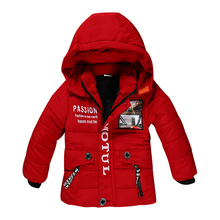 2017 New Boy Winter Jacket High quality Cotton-Padded Hooded Fashion Kids Coat Warm Children Outerwear 3 color clothing