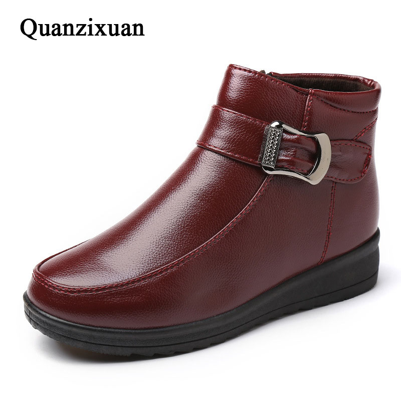 Women Boots New Fashion PU Leather Ankle Boots Women Winter Shoes Warm Snow Shoes<br>