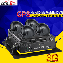 Free Shipping Hard Disk Car Dvr Kits H.264 CCTV Real Time Surveillance 3G GPS Tracker 4 Camera Car Dvr Recorder Software Free