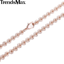 Trendsmax 3MM CUT Rolo Round Link Womens Chain Ladies Girls Rose Yellow Gold Filled Necklace Wholesale Dropship Jewelry GN357