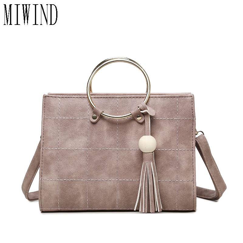 MIWIND Free shipping Women Ring Handle Tassel Handbag Messenger Bags Brand Design High Quality shoulder bag  TLB435<br>