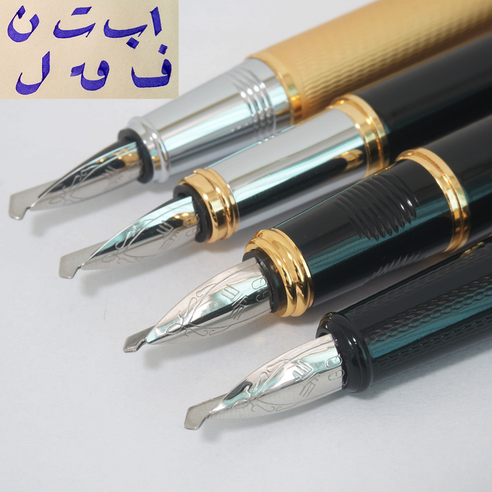 Venus All - metal fountain pen gothic art  pen Arabic Persian mijit calligraphy black golden  5 mm Multi-functional nib gift <br>