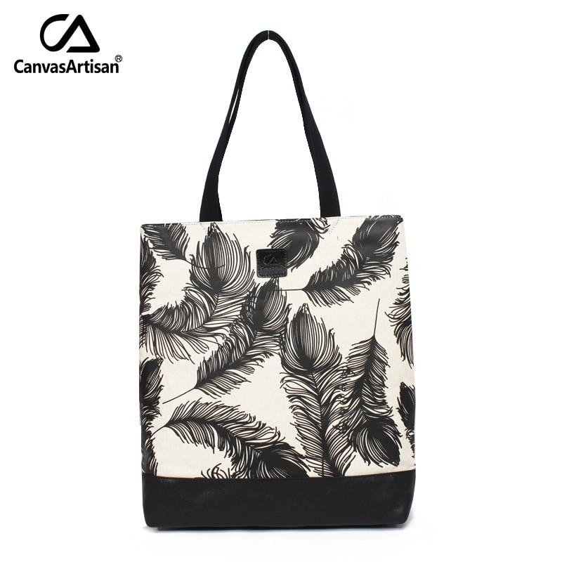Canvasartisan brand new women canvas handbag high quality retro style bag female fashion pattern printing daily storage bags<br>