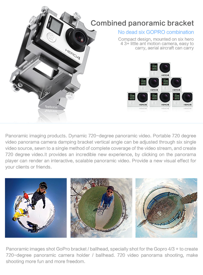 SE-GPP6 360 Panoramic Aluminium Holder Spherical Video Mount Sport Camera Accessories for GoPro Hero 3+4 (10)