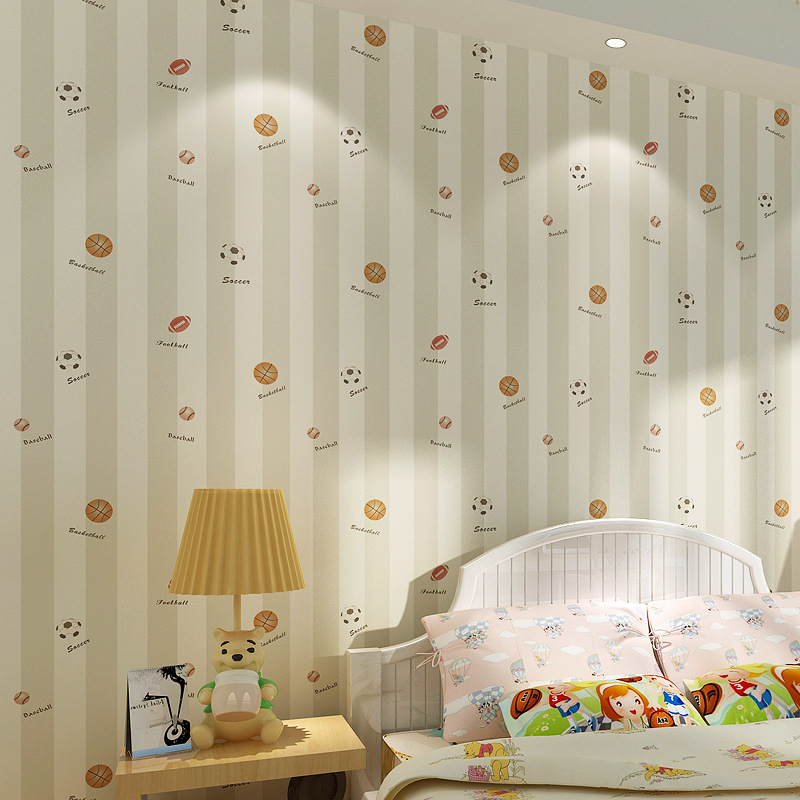 beibehang cartoon soccer basketball childrens room bedroom Non-woven papel de parede 3D wallpaper for wall papers home decor<br>