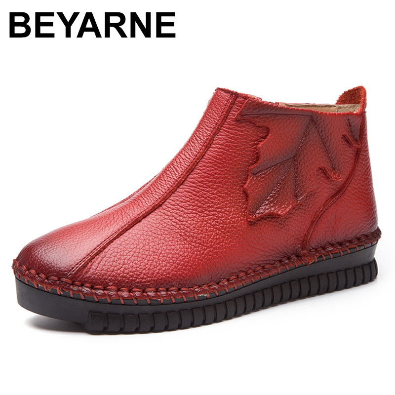 BEYARNE women Vintage Style Genuine Leather Ankle Boots Handmade lace-up Female Warm Winter Shoes Flat Booties <br>