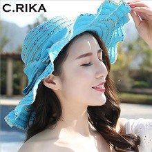 New Fashion Style Women Sun Hat Polyester Wide Brim bow Ventilation Summer Casual Fashion Beach Hats Elegant Ladies Floppy Hats